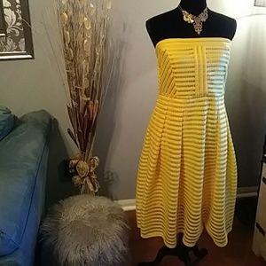 New York & Co. Strapless Striped-Mesh Dress